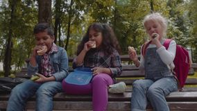 Mixed Racial Group of school kids eating lunch together on break outdoors near school. Back to school concept. Slow. Group of school kids eating lunch together stock footage