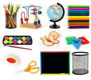 Group of school objects. Group of education theme objects on white background Royalty Free Stock Photo