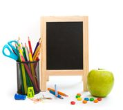 Group of school objects on a white background Royalty Free Stock Photography