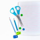 Group of school objects on a white background. Isolation Stock Photos