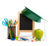 Group of school objects on a white background. Isolation Royalty Free Stock Images