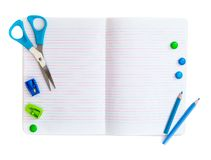 Group of school objects on a white background Stock Photo