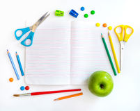 Group of school objects on a white background Royalty Free Stock Image