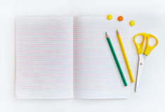 Group of school objects on a white background. Isolation Stock Photo