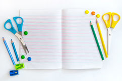 Group of school objects on a white background Stock Images