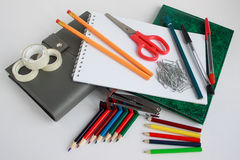 Group of school and office stationery closeup. royalty free stock photography