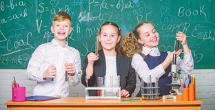 Group school pupils study chemical liquids. Girls and boy student conduct school experiment with liquids. Check result royalty free stock photos
