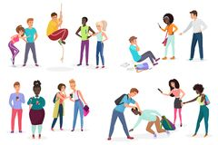 Group school students bullying their groupmates. People discrimination, racism and negative communication in school and. Society concept vector illustration royalty free illustration