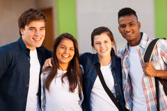 Group school students. Group of cheerful high school students portrait royalty free stock photos