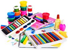 Group of school supplies. Royalty Free Stock Photos