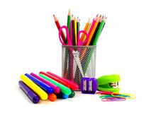 Group of school supplies on white Stock Image