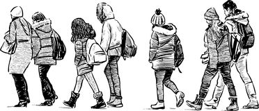 Group of schoolchildren on excursions. Vector sketch of the teenagers on a walk Royalty Free Stock Photo