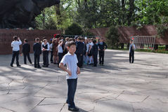 Group of schoolchildren in Park of 28-Panfilov's Guardsmen. Almaty Royalty Free Stock Image