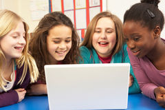 Group Of Schoolgirls In IT Class royalty free stock photo