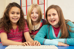 Group Of Schoolgirls In IT Class royalty free stock photography