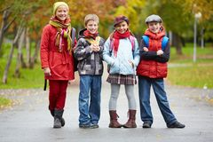 Group of schoolkids Stock Images
