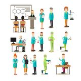 Group of science people vector flat icon set royalty free illustration