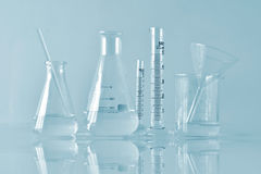 Group of scientific laboratory glassware with clear liquid solution, Research and development. Stock Photography