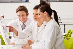 Group Of Scientists Checking Laboratory Results On Computer. And Smiling Stock Photography