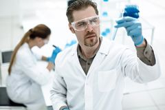 Group of scientists from a modern laboratory. Photo with copy space Royalty Free Stock Image