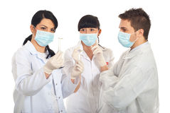 Group of scientists people with new plant Stock Photos