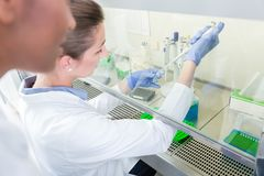Group of scientists in research laboratory working under splashb Stock Photos