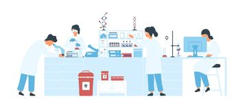 Group of scientists wearing white coats conducting experiments in science laboratory. Male and female researchers in vector illustration