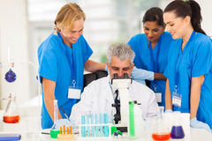 Group scientists working. Group of scientists working in lab royalty free stock photo