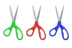 Group of scissors on isolated white background Royalty Free Stock Images