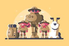 Group of scouts with rucksack. And dog. Head and children. Vector illustration royalty free illustration