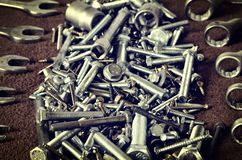 Group of screws and wrenches. Stock Photos