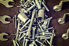 Group of screws and wrenches. Royalty Free Stock Photos