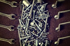 Group of screws and wrenches. Royalty Free Stock Image