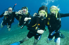 Group of scuba divers. Friends scuba dive together in the sea royalty free stock photo