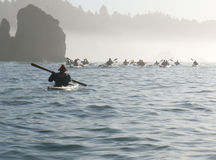 Group of sea kayakers Royalty Free Stock Photos