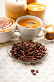 Selection of different coffee type Stock Photos