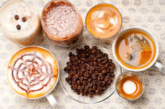 Selection of different coffee type Royalty Free Stock Images