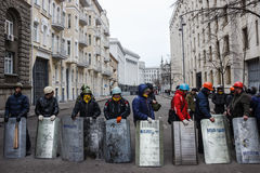 Group of self-defense of the Maidan with shields Royalty Free Stock Photo