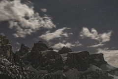 Group of Sella at the Moonlight, Dolomiti Royalty Free Stock Photos