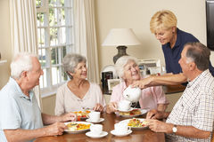 Group Of Senior Couples Enjoying Meal Together In Care Home With Home Help royalty free stock image