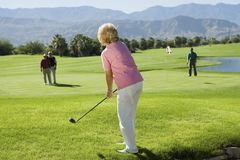Group senior golfers playing golf Royalty Free Stock Photo