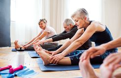 Group of senior people doing exercise in community center club. stock photo