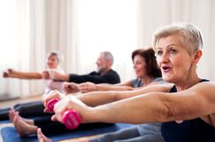 Group of senior people doing exercise with dumbbells in community center club. royalty free stock image