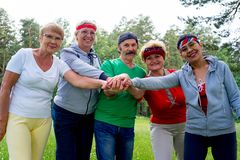 Senior people in a park royalty free stock photos
