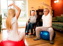 Group of senior people exercise with physiotherapist in private stock image