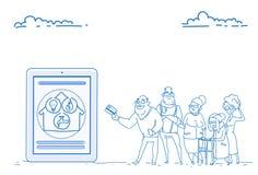 Group senior people mobile application online communal payments modern pensioners credit card pay concept sketch doodle vector illustration
