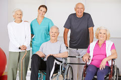 Group of senior people in physiotherapy Stock Images