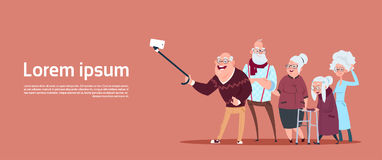 Group Of Senior People Taking Selfie Photo With Self Stick Modern Grandfather And Grandmother. Flat Vector Illustration Stock Image