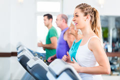 Group with senior people on treadmill in gym Royalty Free Stock Photos