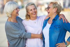 Group of senior women smiling Stock Photo